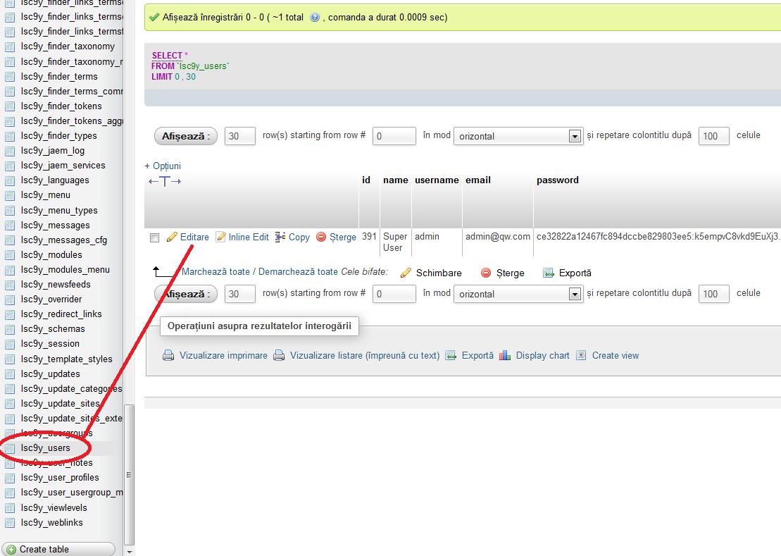 Acces baza SQL Joomla